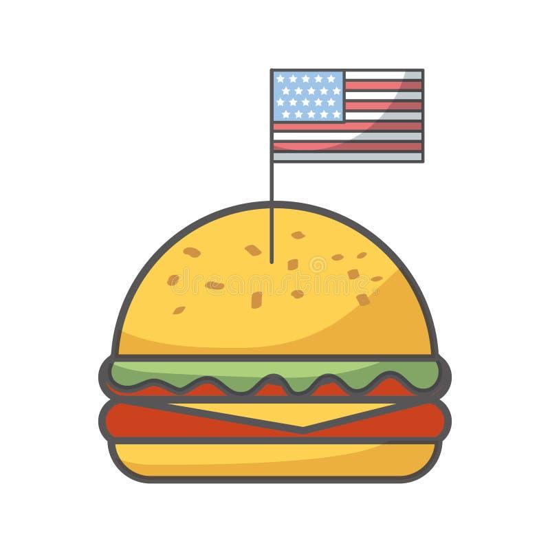 Icono aislado delicioso de los alimentos de preparación rápida de la hamburguesa stock de ilustración
