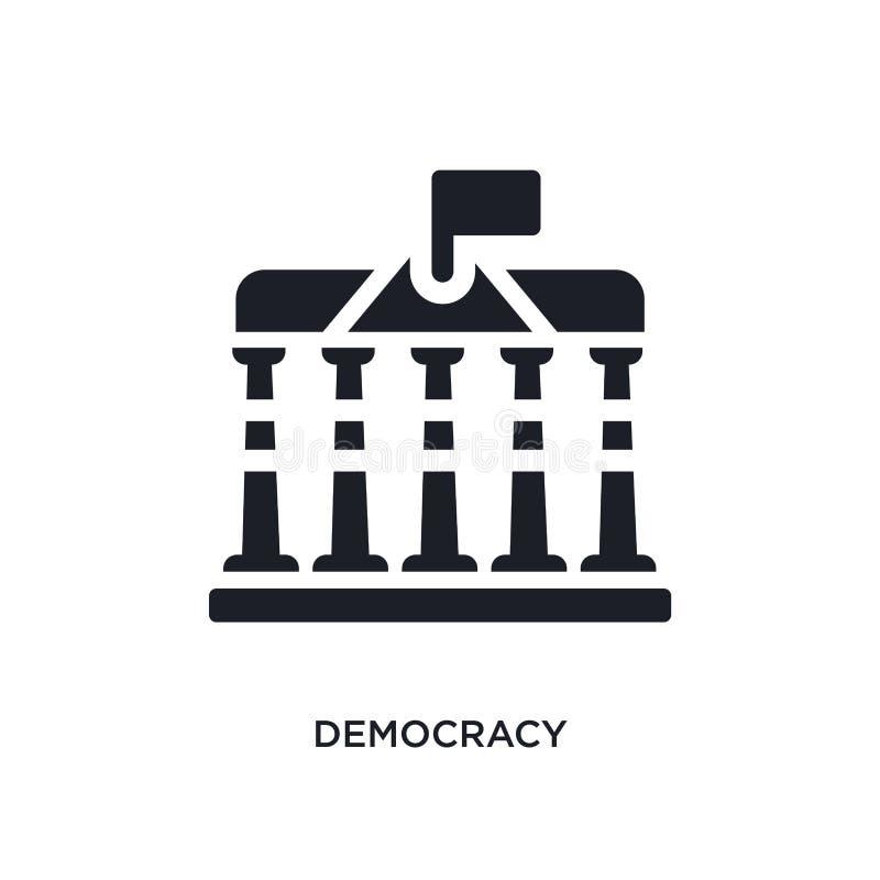 icono aislado democracia negra del vector ejemplo simple del elemento de iconos del vector del concepto de Estados Unidos logotip stock de ilustración