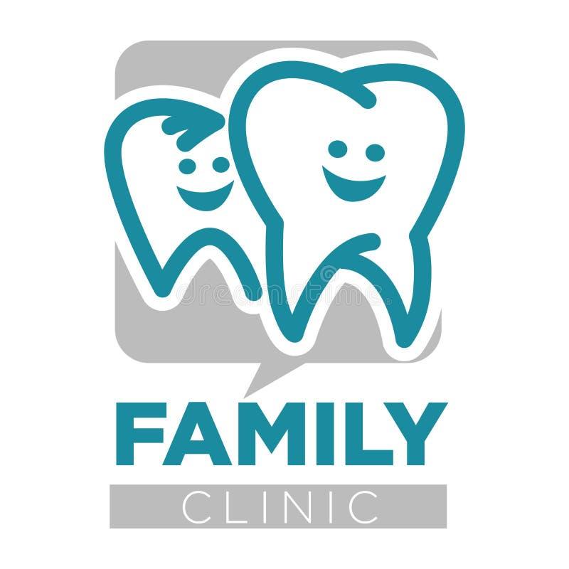 Icono aislado dientes de los servicios del dentista de la clínica de la familia stock de ilustración
