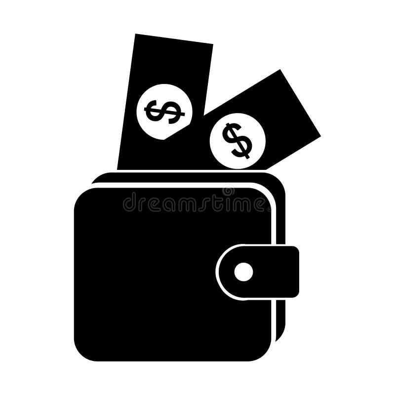 Icono aislado dinero de la cartera stock de ilustración