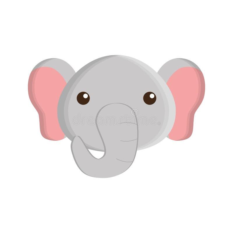 Icono aislado elefante lindo ilustración del vector