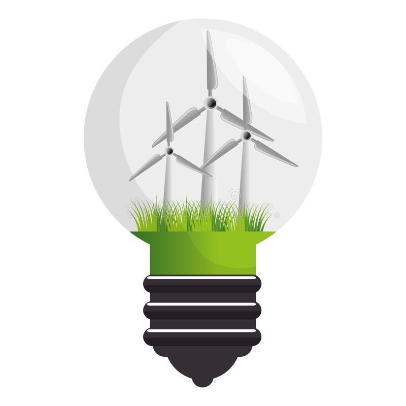 Icono aislado energía del molino de viento ilustración del vector