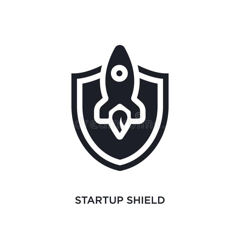 icono aislado escudo de lanzamiento negro del vector ejemplo simple del elemento de iconos stategy y del concepto de lanzamiento  stock de ilustración