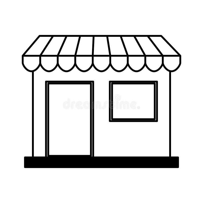 Icono aislado frente del edificio de tienda libre illustration