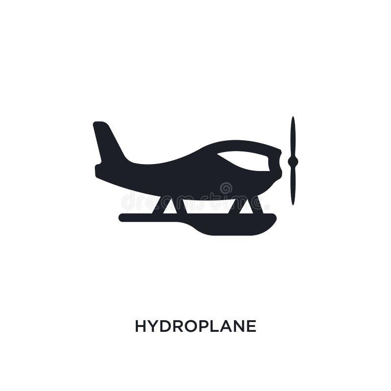 icono aislado hidroavión negro del vector ejemplo simple del elemento de iconos del vector del concepto del transporte hidroplane libre illustration