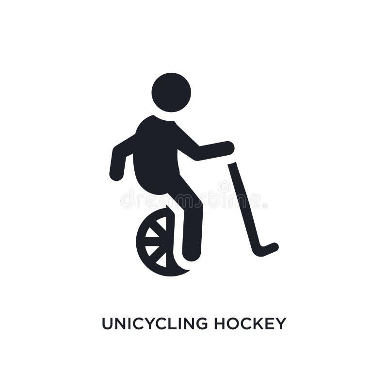 icono aislado hockey unicycling negro del vector ejemplo simple del elemento de iconos del vector del concepto del deporte hockey libre illustration
