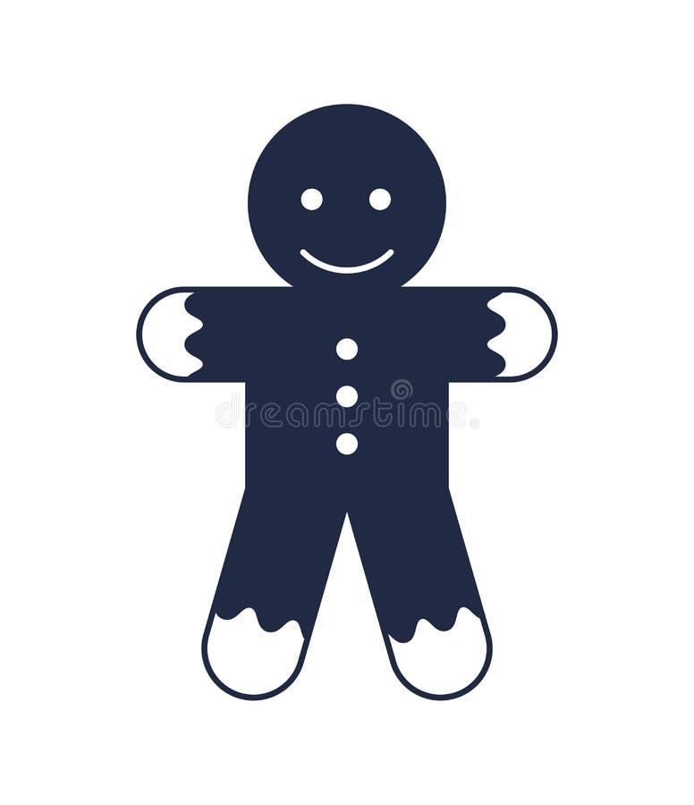 Icono aislado hombre de pan de jengibre del vector de la Navidad ilustración del vector