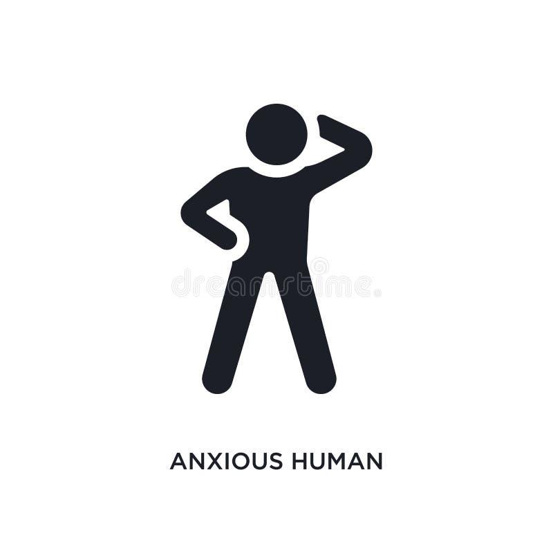 icono aislado humano ansioso ejemplo simple del elemento de iconos del concepto de las sensaciones símbolo editable humano ansios stock de ilustración