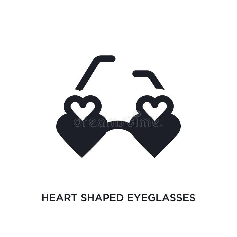 icono aislado lentes en forma de corazón ejemplo simple del elemento de iconos del concepto de la ropa de la mujer Lentes en form ilustración del vector
