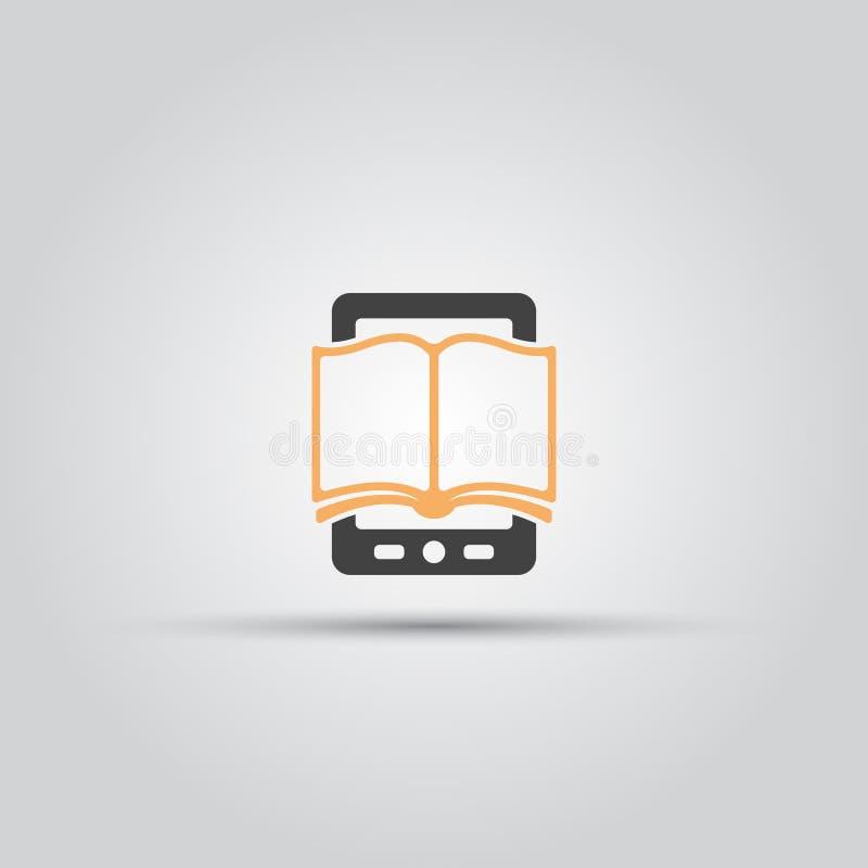 Icono aislado libro del vector de E stock de ilustración