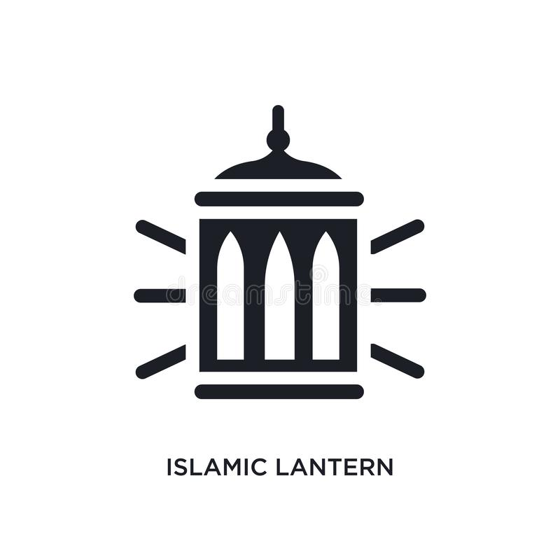 icono aislado linterna islámica negra del vector ejemplo simple del elemento de iconos del vector del concepto de la religión Lin libre illustration