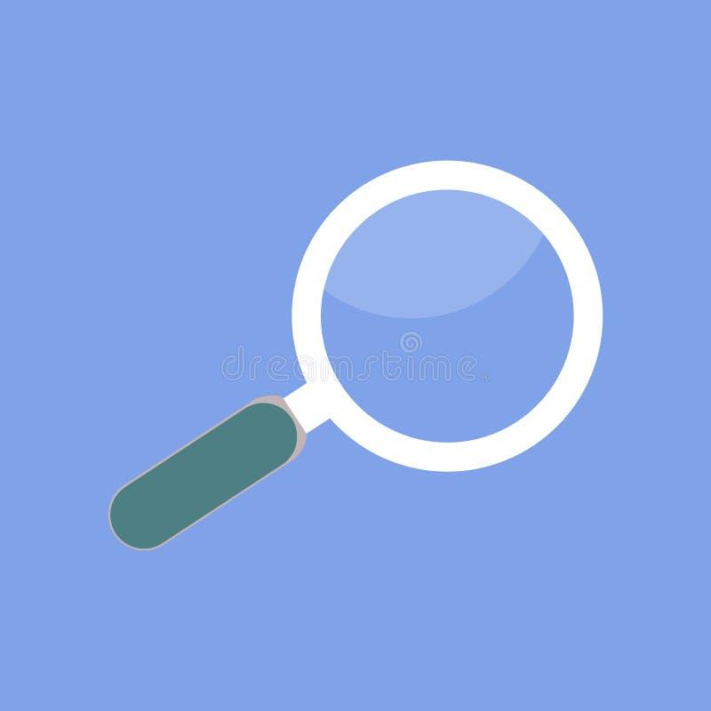 Icono aislado lupa E stock de ilustración