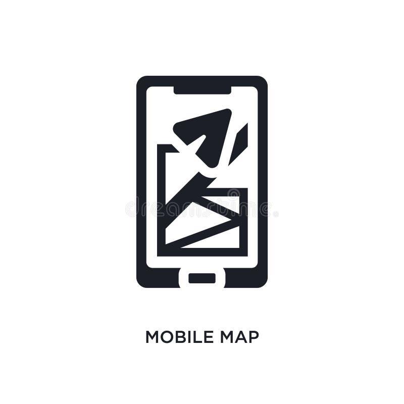 icono aislado mapa móvil negro del vector ejemplo simple del elemento de iconos del vector del concepto del viaje logotipo editab libre illustration