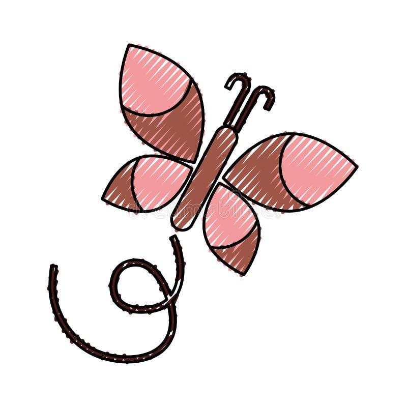 Icono aislado mariposa linda stock de ilustración