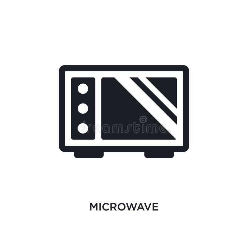 icono aislado microonda negra del vector ejemplo simple del elemento de iconos del vector del concepto de los muebles negro edita ilustración del vector