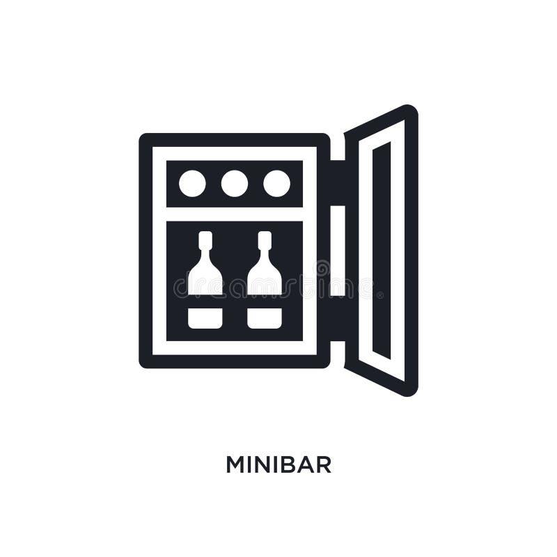 icono aislado minibar negro del vector ejemplo simple del elemento de iconos del vector del concepto del hotel y del restaurante  stock de ilustración