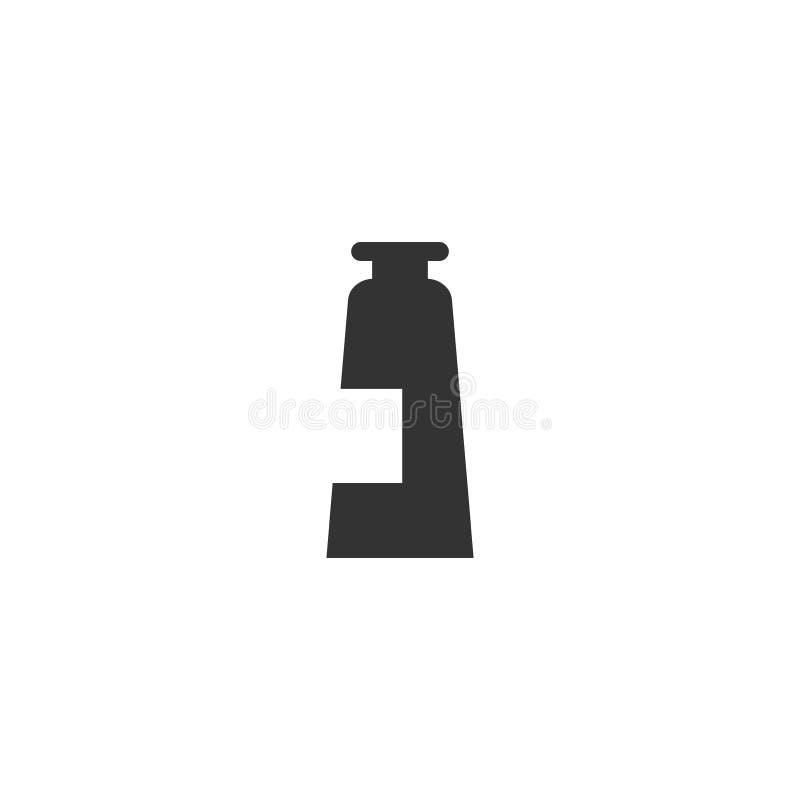 Icono aislado negro cosmético del vector del tubo de la loción libre illustration