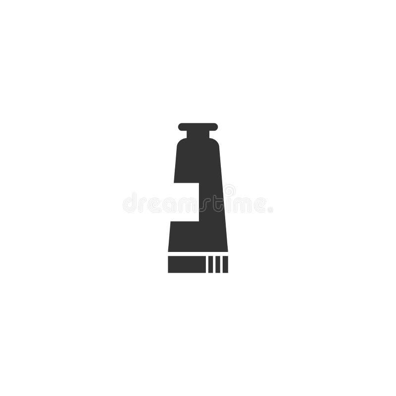 Icono aislado negro cosmético del vector del tubo de la loción stock de ilustración