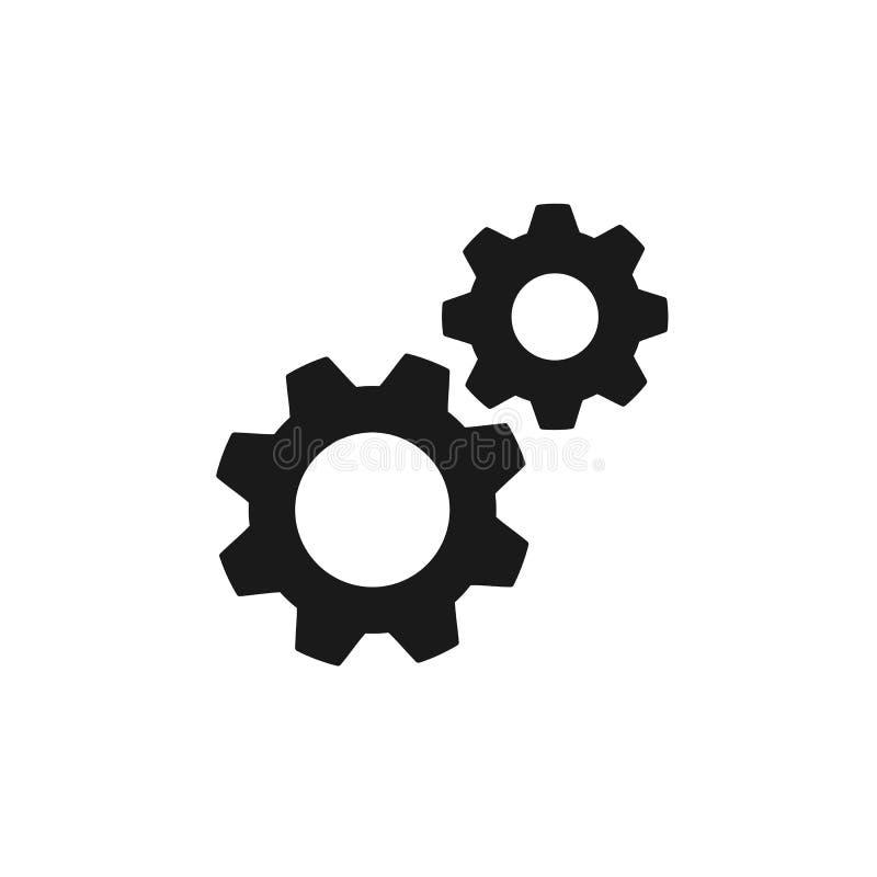 Icono aislado negro de dos ruedas dentadas en el fondo blanco Silueta de la rueda de engranaje Diseño plano configuraciones stock de ilustración