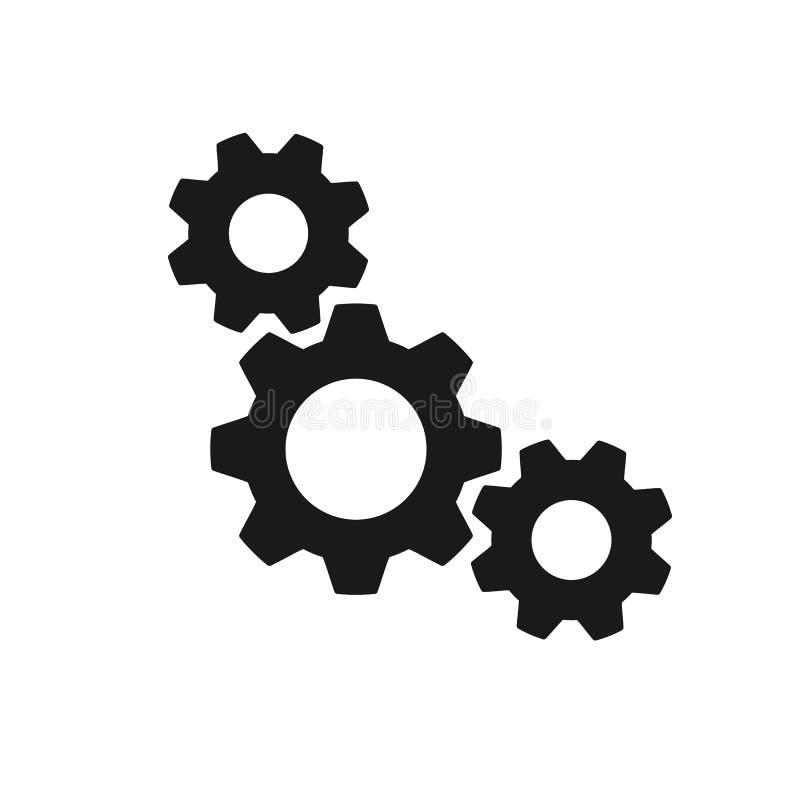 Icono aislado negro de tres ruedas dentadas en el fondo blanco Silueta de la rueda de engranaje Diseño plano configuraciones ilustración del vector