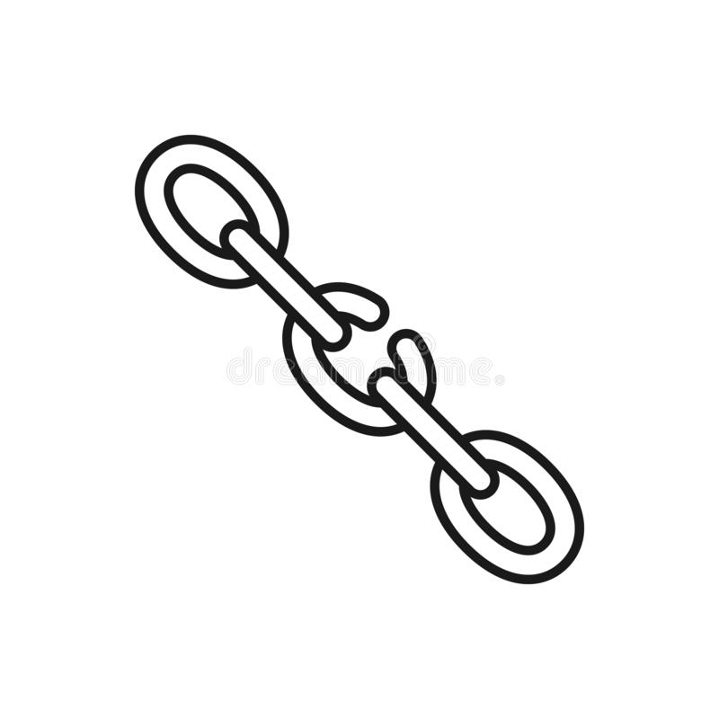 Icono aislado negro del esquema de la cadena quebrada en el fondo blanco Línea icono de punto débil de cadena libre illustration