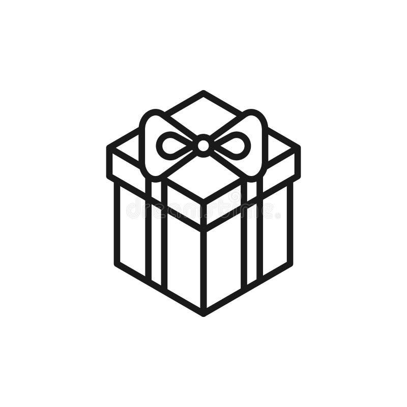 Icono aislado negro del esquema de la caja de regalo en el fondo blanco Línea isométrica icono de caja de regalo ilustración del vector