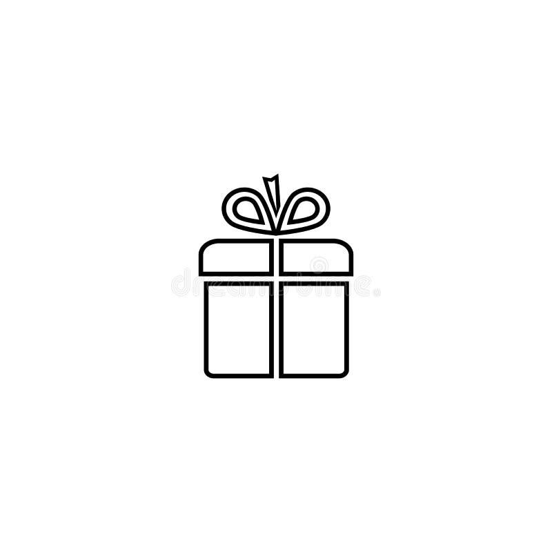 Icono aislado negro del esquema de la caja de regalo en el fondo blanco L?nea icono de caja de regalo libre illustration
