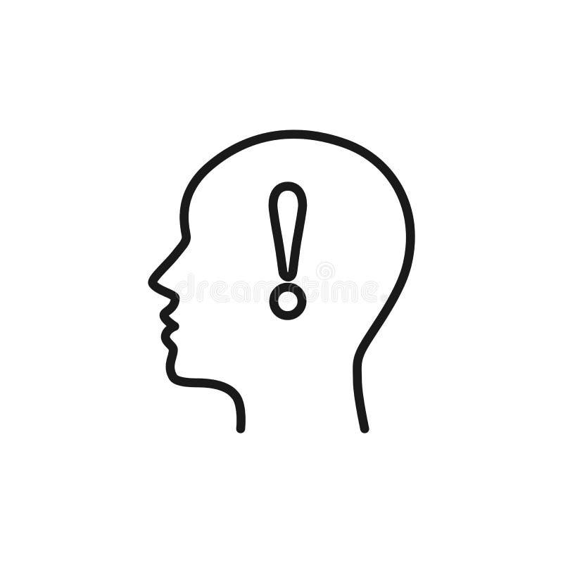 Icono aislado negro del esquema del jefe del hombre y de la marca de exclamación en el fondo blanco Línea icono de jefe del hombr ilustración del vector