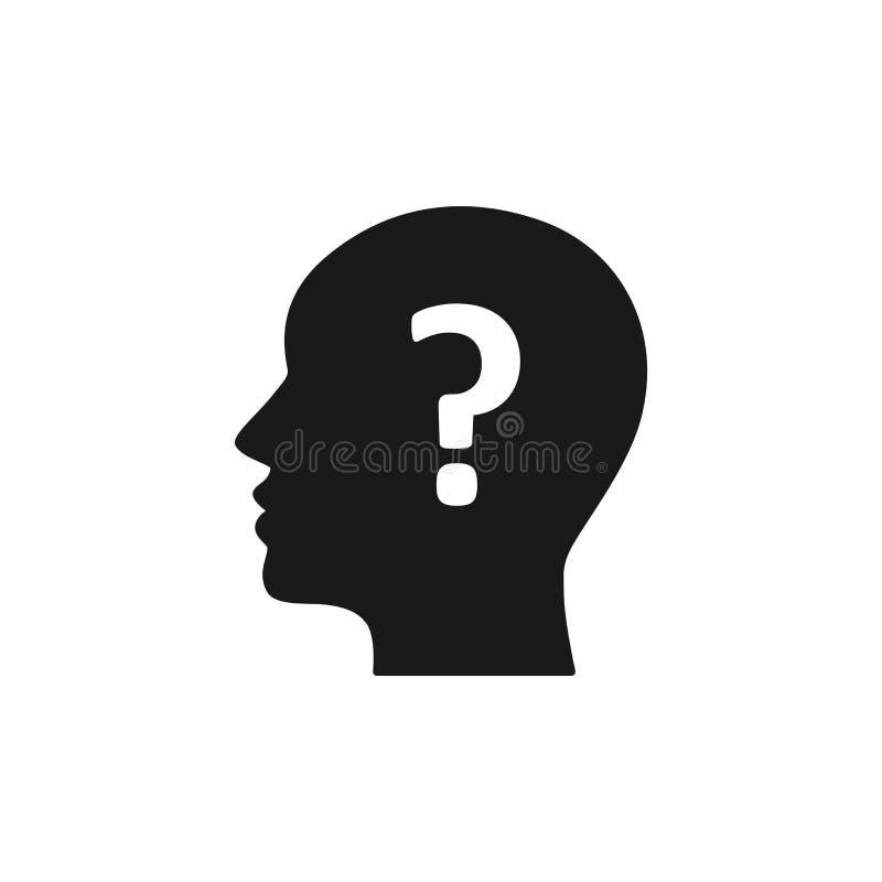 Icono aislado negro del jefe del hombre y del signo de interrogación en el fondo blanco Silueta del jefe del hombre y del signo d stock de ilustración