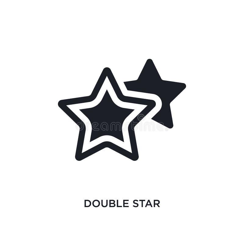 icono aislado negro del vector de la estrella doble ejemplo simple del elemento de iconos del vector del concepto de la astronomí ilustración del vector