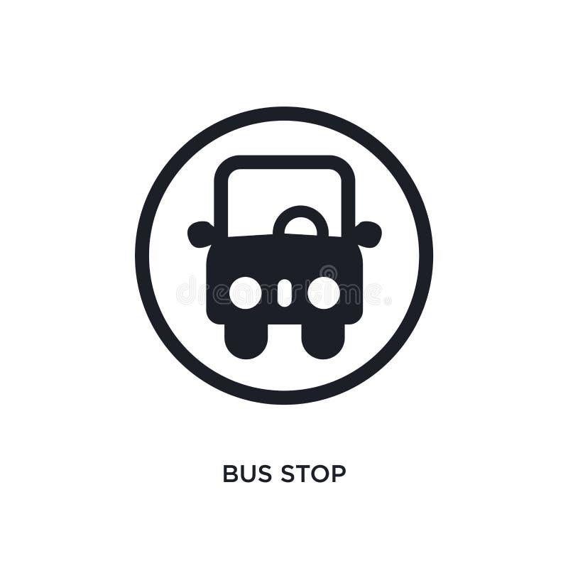 icono aislado negro del vector de la parada de autobús el ejemplo simple del elemento del tráfico señal iconos del vector del con stock de ilustración