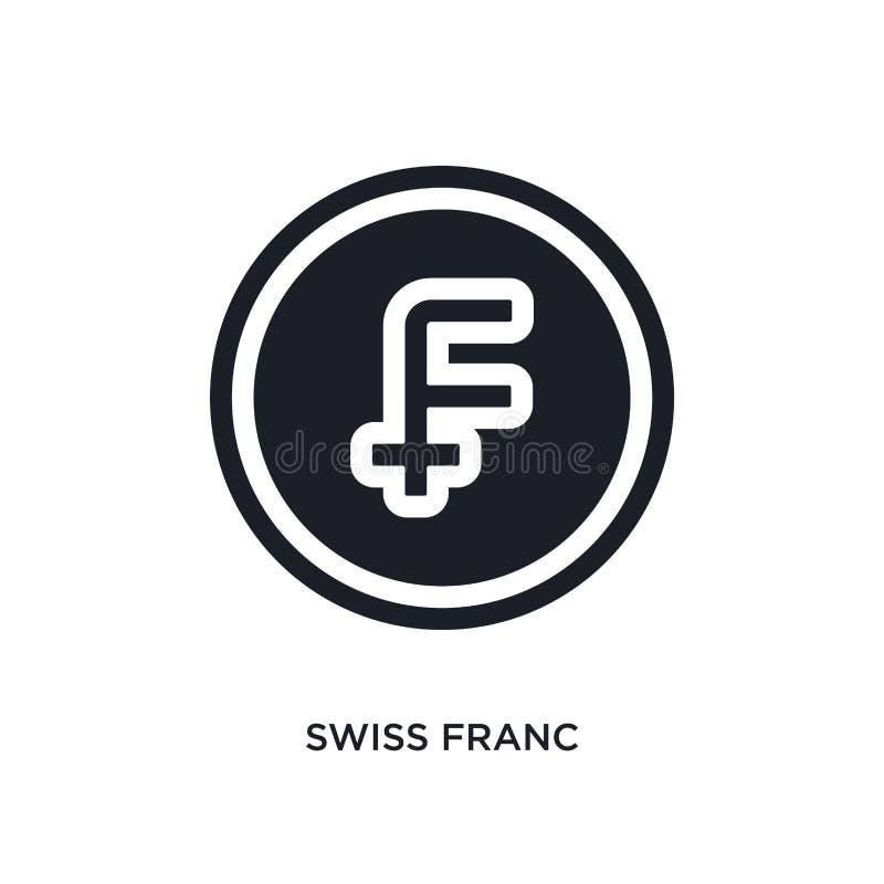 icono aislado negro del vector del franco suizo ejemplo simple del elemento de iconos del vector del concepto del comercio electr libre illustration