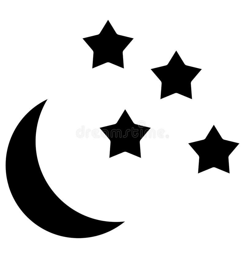 Icono aislado noche del vector que puede ser modificado o corregir fácilmente en cualquier icono aislado noche del vector del est ilustración del vector
