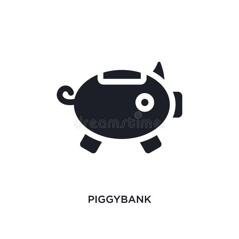 icono aislado piggybank negro del vector ejemplo simple del elemento de iconos stategy y del concepto de lanzamiento del vector P stock de ilustración