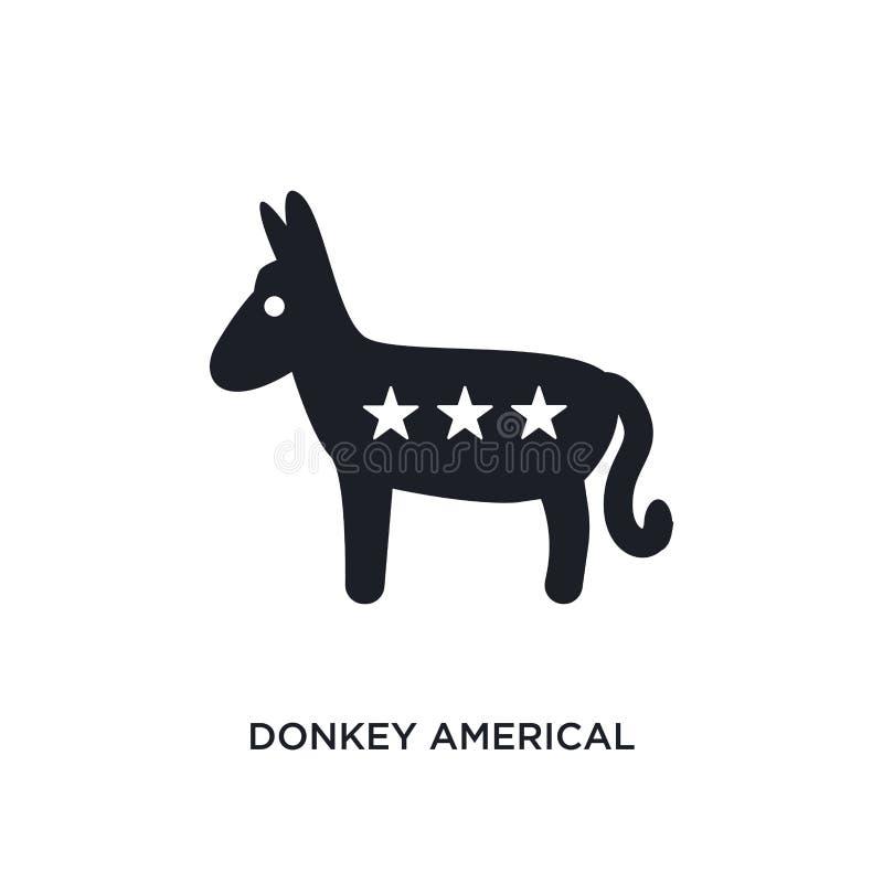 icono aislado político americal del burro ejemplo simple del elemento de iconos políticos del concepto político americal del burr stock de ilustración