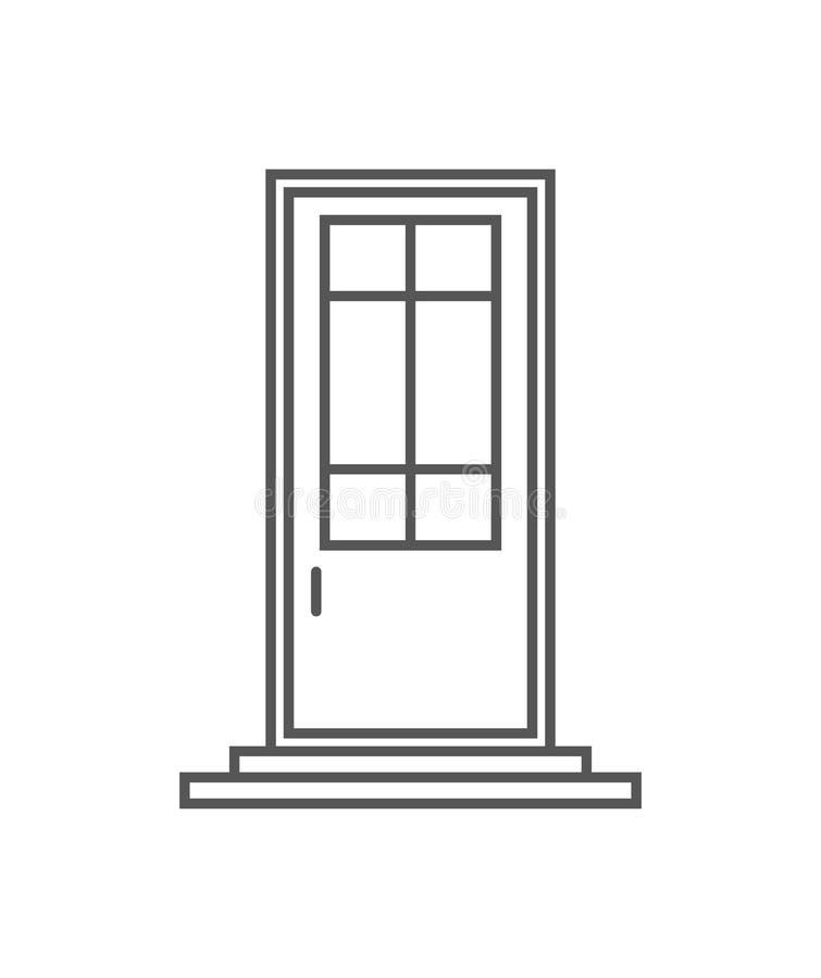 Icono aislado puerta de Interroom en estilo linear ilustración del vector