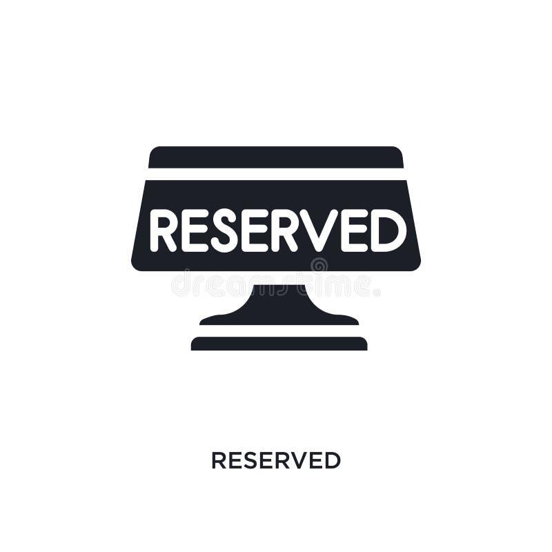 icono aislado reservado del vector del negro ejemplo simple del elemento de iconos del vector del concepto del hotel y del restau stock de ilustración
