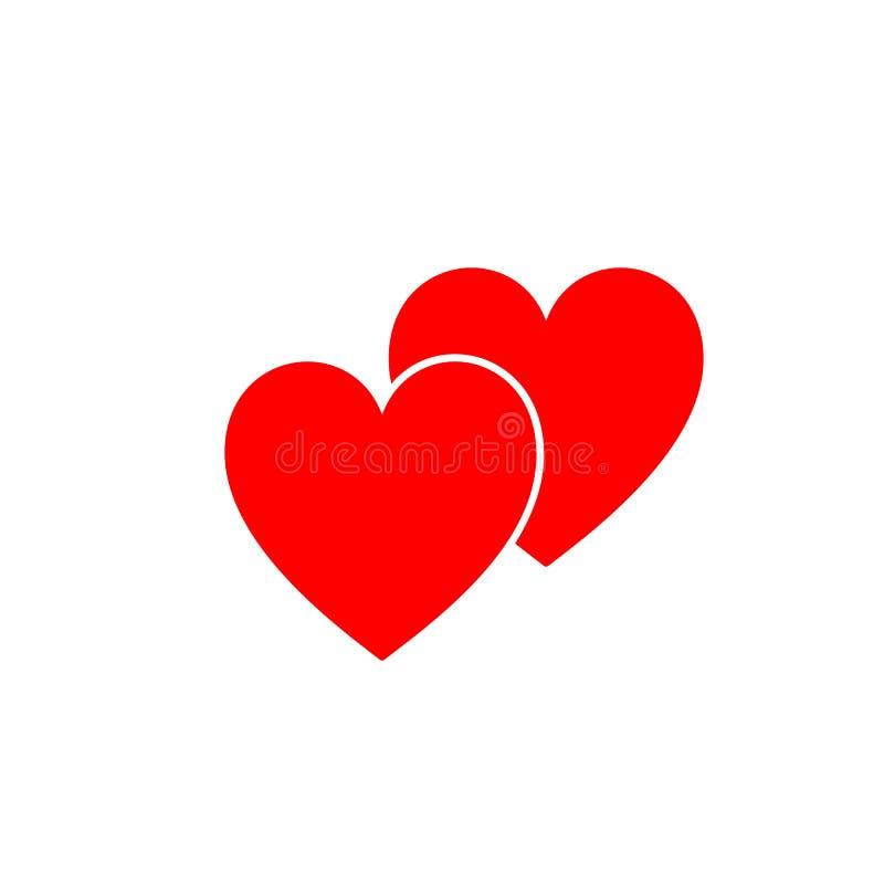 Icono aislado rojo de dos corazones en el fondo blanco Silueta de dos corazones Diseño plano Símbolo del amor stock de ilustración