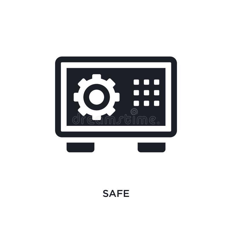 icono aislado seguro negro del vector ejemplo simple del elemento de iconos del vector del concepto del hotel diseño editable seg stock de ilustración