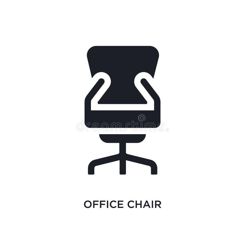 icono aislado silla negra del vector de la oficina ejemplo simple del elemento de iconos del vector del concepto de los muebles y libre illustration