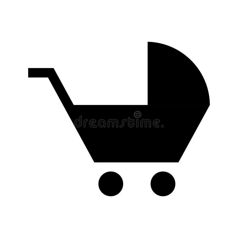icono aislado silueta del carro del bebé stock de ilustración