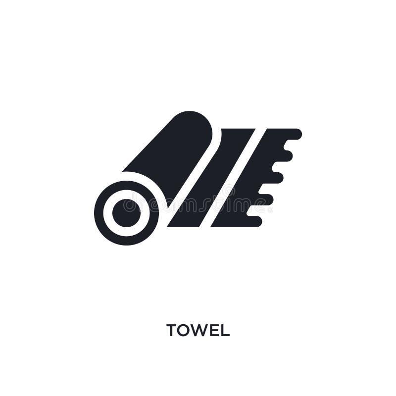 icono aislado toalla negra del vector ejemplo simple del elemento de iconos del vector del concepto de los muebles logotipo negro stock de ilustración