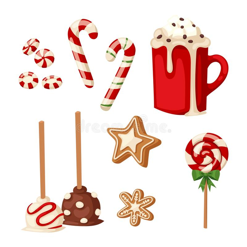 Icono aislado torta del vector de la Navidad ilustración del vector