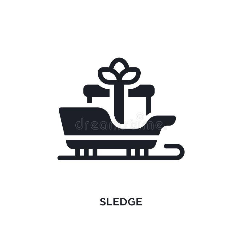 icono aislado trineo ejemplo simple del elemento de iconos del concepto del invierno diseño editable del símbolo de la muestra de stock de ilustración