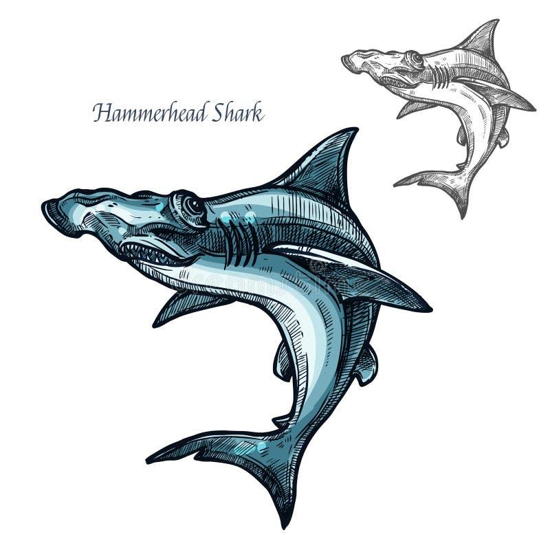 Icono aislado vector del bosquejo de los pescados del tiburón de Hammerhead ilustración del vector