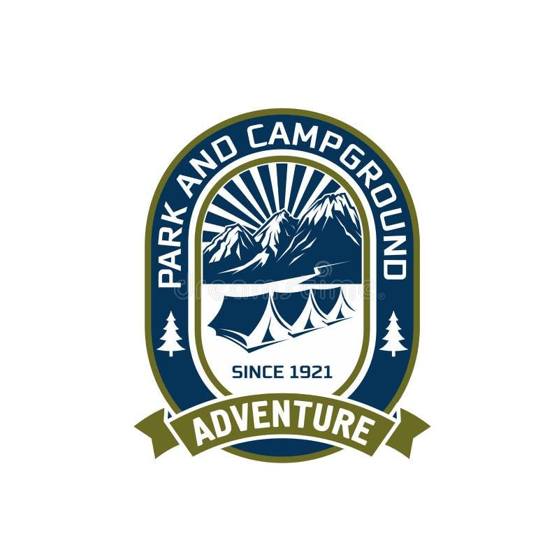 Icono al aire libre del vector del club de la aventura de la montaña que acampa ilustración del vector