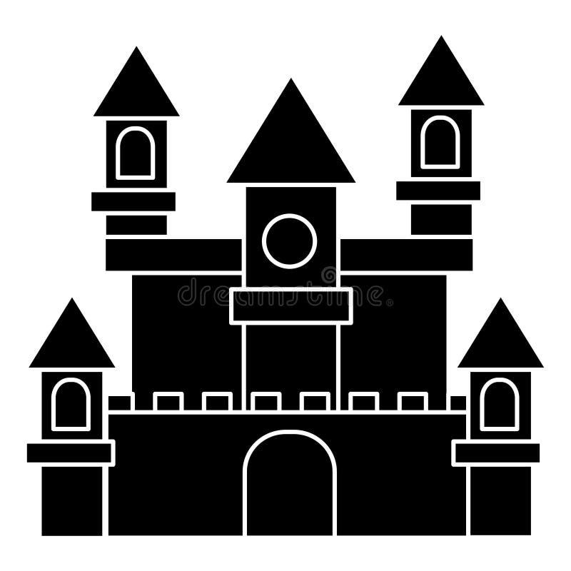 Icono alemán del castillo, ejemplo del vector, muestra negra en fondo aislado stock de ilustración