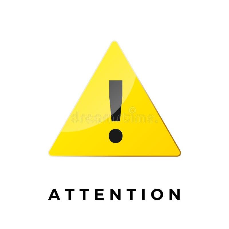 icono alerta S?mbolo de la atenci?n Etiqueta engomada amonestadora triángulo amarillo con la marca de exclamación negra Ejemplo d ilustración del vector