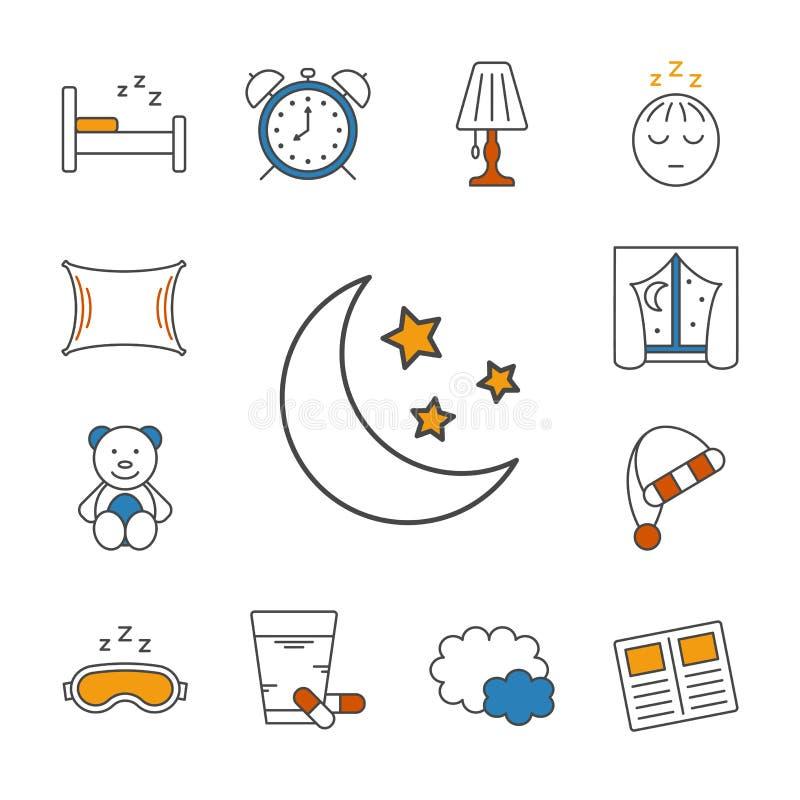 Icono alineado fino del sueño stock de ilustración
