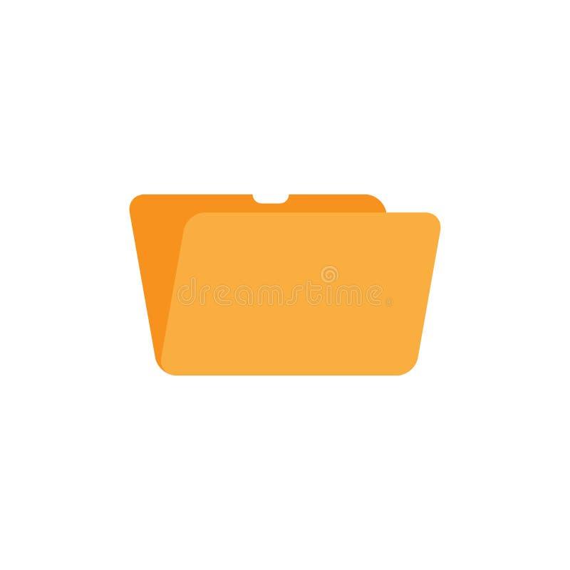 Icono amarillo abierto de la carpeta para el ordenador en el fondo blanco Ejemplo plano EPS 10 del vector libre illustration